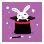 Cute to from gift tag label with white rabbit in magicians hat on purple background