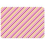 Yellow and pink stripes, back of flat note card stationery for kids
