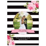 Black stripes and pink roses wedding thank you photo flat card
