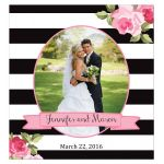 Black stripes and pink roses wedding photo personalized wine labels