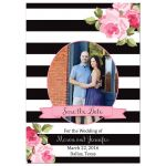Black stripes and pink roses wedding save the date photo flat card