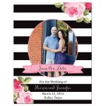 Black stripes and pink roses wedding save the date photo magnet