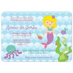 Under the sea mermaid birthday party invitations