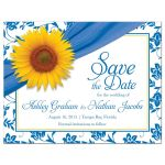 Sunflower Wedding Save the Date Postcard Blue Yellow Floral Front