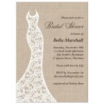 lace wedding dress on burlap for the rustic bridal shower