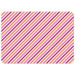 Pink and orange striped pattern, back of cute flat notecard for children with ginger cartoon girl