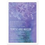Outlined Floral Purple Watercolor Wedding invitation