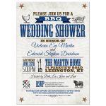 Rustic BBQ Wedding Bridal Blue Brown Shower invitation