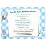 Blue Gingham Picnic BBQ Party invitation