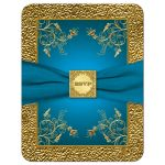 Turquoise blue and gold floral wedding invitation