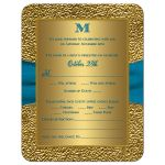 Teal and gold floral wedding invite