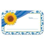 Wedding Place Card Place Card Sunflower Blue Damask Front