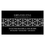 White Rosettes on Black Business Card