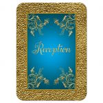 Teal blue and gold floral wedding reception enclosure card
