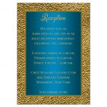 Turquoise blue and gold floral wedding reception insert card