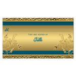 Turquoise blue and gold floral place card