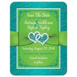 Best ​Photo wedding save the date card in turquoise blue, lime green and white with ribbon, joined jewel and glitter hearts.
