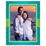 Great ​Photo save the date cards in turquoise blue, lime green and white with ribbon, joined jewel and glitter hearts.