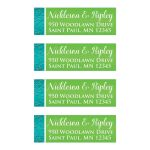 Great personalized turquoise blue, white and lime green floral wedding return address mailing labels.