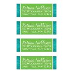 personalized turquoise blue, white and lime green floral wedding return address mailing labels.