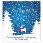 Reindeer in a Snowy Wood Christmas Holiday Wine Bottle Label