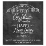Black Chalkboard Christmas New Years Wine Bottle Label