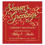 ​Elegant red and gold season's greetings personalized Christmas wine label