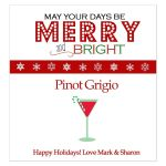 Merry and Bright Personalized Christmas Holiday Wine Label