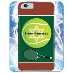 ​Best Bar Mitzvah party thank you card with a tennis and iPhone smart phone electronics technology theme.