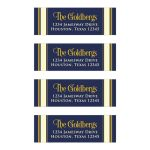 Classic personalized Bar Mitzvah return address mailing labels navy blue, gold, and ivory