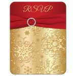 Great red and gold winter wedding RSVP card with snowflakes, ribbon and jewel buckle brooch.