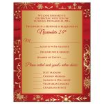 Best red and gold winter wedding response card with snowflakes, ribbon and jewel buckle brooch.