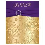 Great purple and gold winter wedding RSVP card with snowflakes, ribbon and jewel buckle brooch.