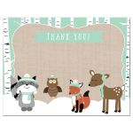 Winter Woodland Neutral Thank you card flat