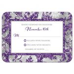 Best winter wonderland wedding response enclosure card in ice purple glitter damask pattern on silver gray background with white snowflakes.