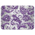 Best winter wonderland wedding reply rsvp enclosure card in ice purple glitter damask pattern on silver gray background with white snowflakes.