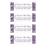 Great ice purple, silver gray floral FAUX glitter damask pattern wedding return address mailing labels with white snowflakes.