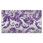 Best winter wonderland wedding reception enclosure cards in ice purple glitter damask pattern on silver gray background with white snowflakes.