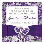 Great customizable ice purple, silver grey floral FAUX glitter damask pattern square wedding favor tag with pre-drilled hole and white snowflakes.