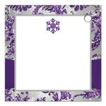 Best personalized ice purple, silver gray FAUX glitter floral damask pattern square wedding favor tags with pre-drilled hole and white snowflakes.