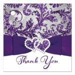 Great ice purple, silver gray floral FAUX glitter floral damask pattern square wedding favor tag with pre-drilled hole and white snowflakes.