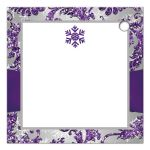 Best ice purple, silver gray floral FAUX glitter floral damask pattern square wedding favor tag with pre-drilled hole and white snowflakes.