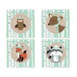 Winter Woodland Birch Tree Animals 2-inch Square Sticker Favors