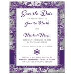 Winter wonderland photo template wedding save the date card in ice purple, silver, and white snowflakes with ribbon and joined jewel and glitter hearts.
