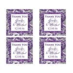 Best personalized purple, silver grey and white snowflakes and faux glitter winter wonderland wedding favor thank you stickers.