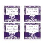 Personalized ice purple, silver gray and white snowflakes FAUX glitter floral damask pattern square wedding favor thank you stickers.