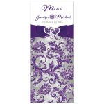 Great winter wonderland wedding menu cards in ice purple, silver, and white snowflakes with ribbon and joined jewel and glitter hearts.