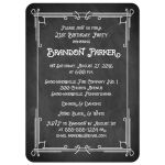 Great black and white chalkboard art deco scrolls 21st birthday party invitation. with photo template.