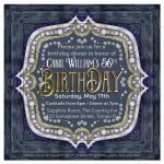 Denim Blue Glam Gold 50th Birthday Invitations