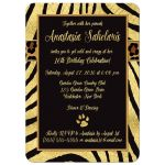Best black and gold zebra and leopard wild animal prints 16th birthday party invites.